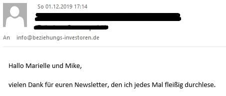 Newsletter Danke